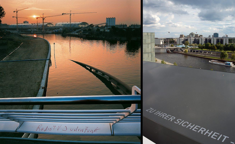 Spree, Brücke Hauptbahnhof, Sonnenuntergang, Futurum, Regierungsviertel