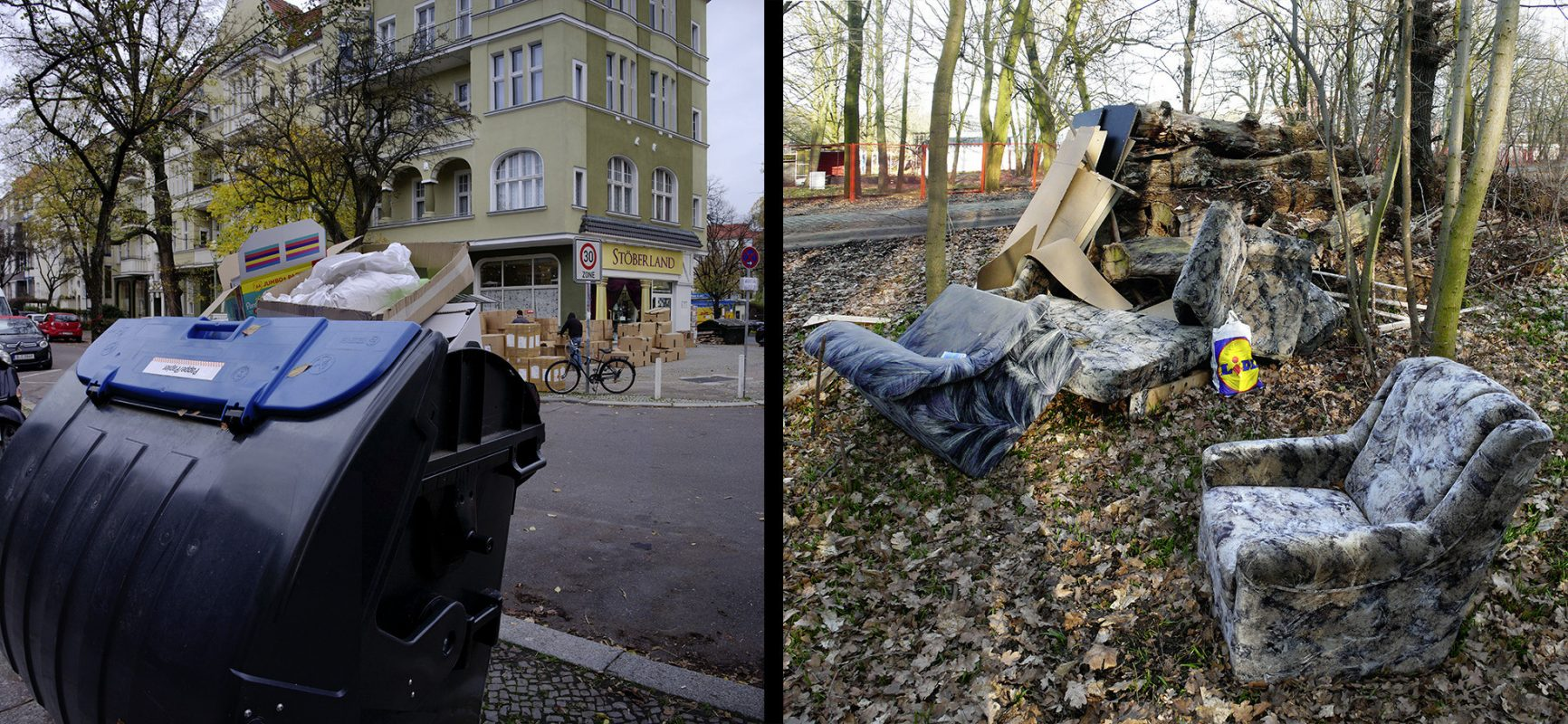 Berlin Friedenau, Treptower Park, alte Möbel, Abfall