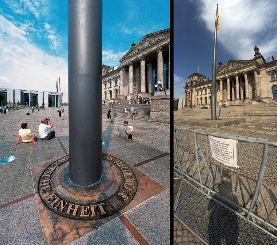 Reichstag, Einheitsinschrift, Absperrungen