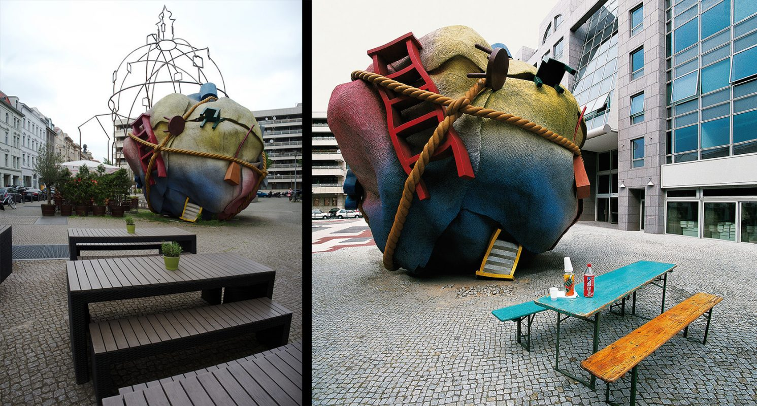 Philip-Johnson-Haus, Houseball von Claes Oldenburg und Coosje van Bruggen