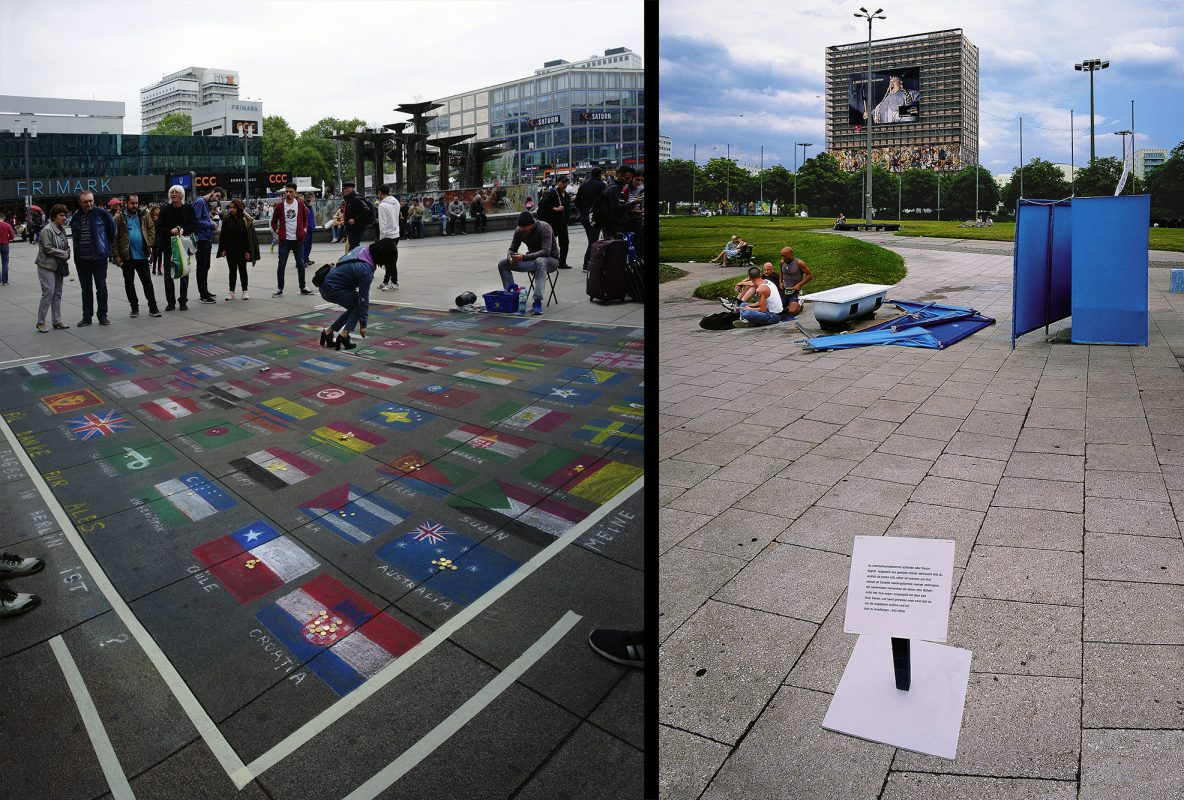Alexanderplatz, Haus des Lehrers, Performance, Pflastermaler