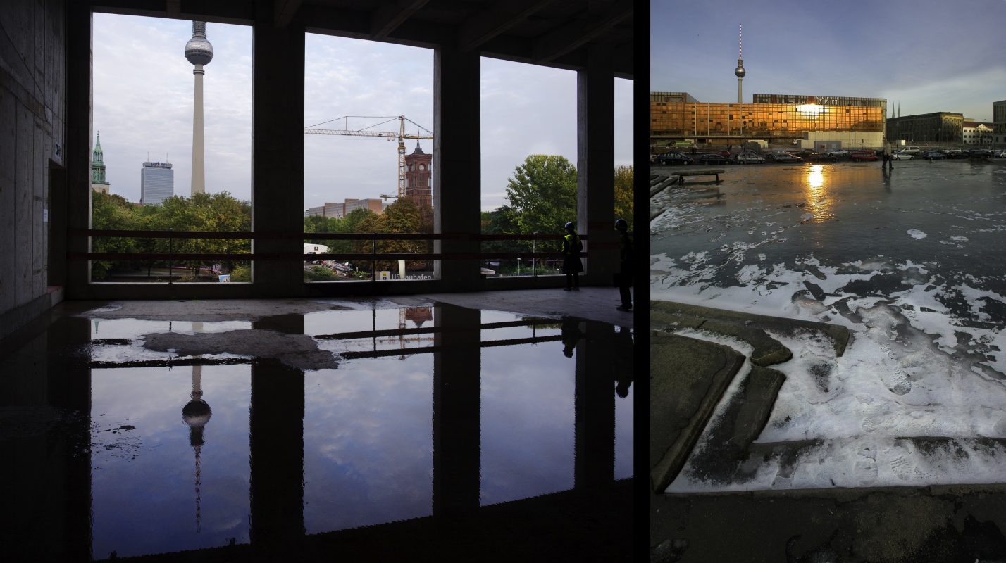 Palast der Republik, Eisfläche, Schloßbaustelle