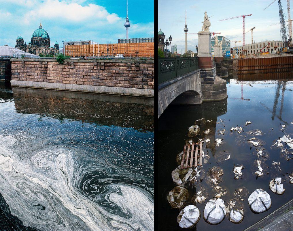 Palast der Republik, Spreekanal 2003, Schlossbau 2015