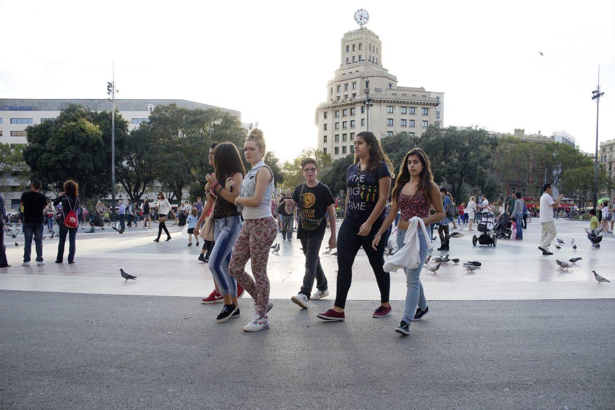 Barcelona, Plaça d'Espanya, Mädchengruppe