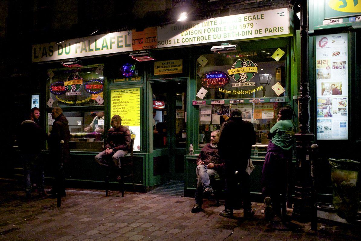Fallalafel nachts, Rue de Rosiers, Marais
