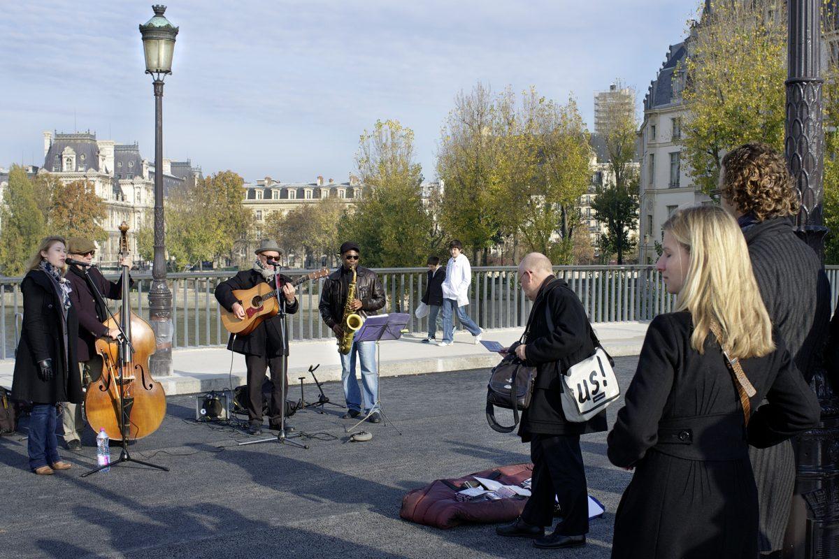 Paris, Brücke, Touristen, Musiker
