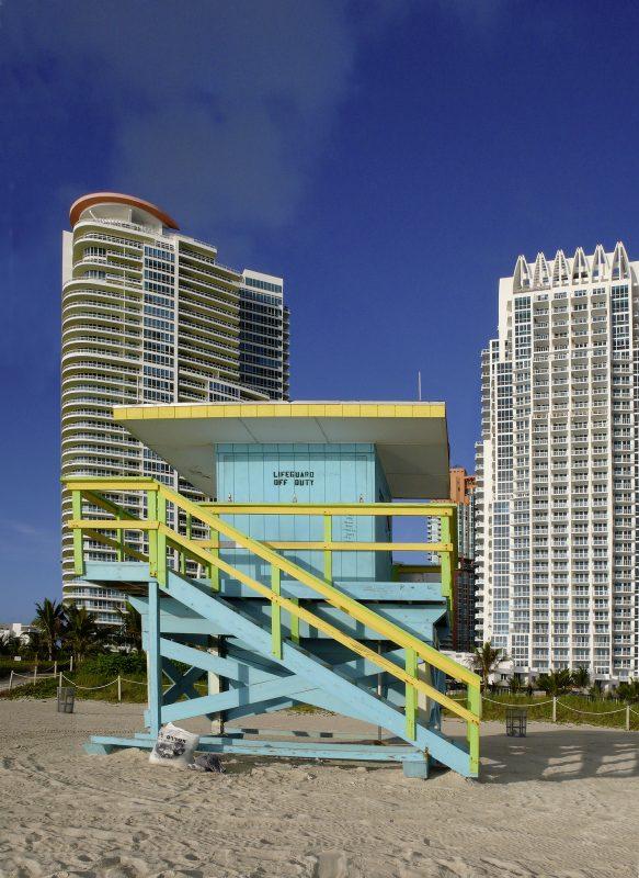 Miami, Hochhäuser, Strand, Lebensretter