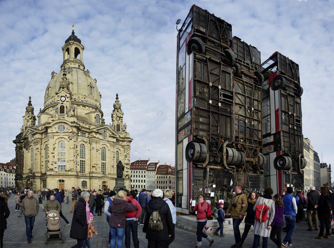"Dresden, ""Monument"" Installation Manaf Halbouni"