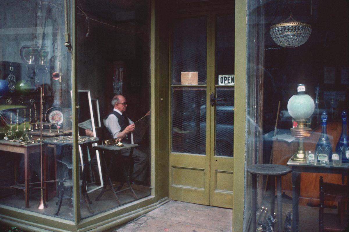 England, Antiquariat, Schaufenster