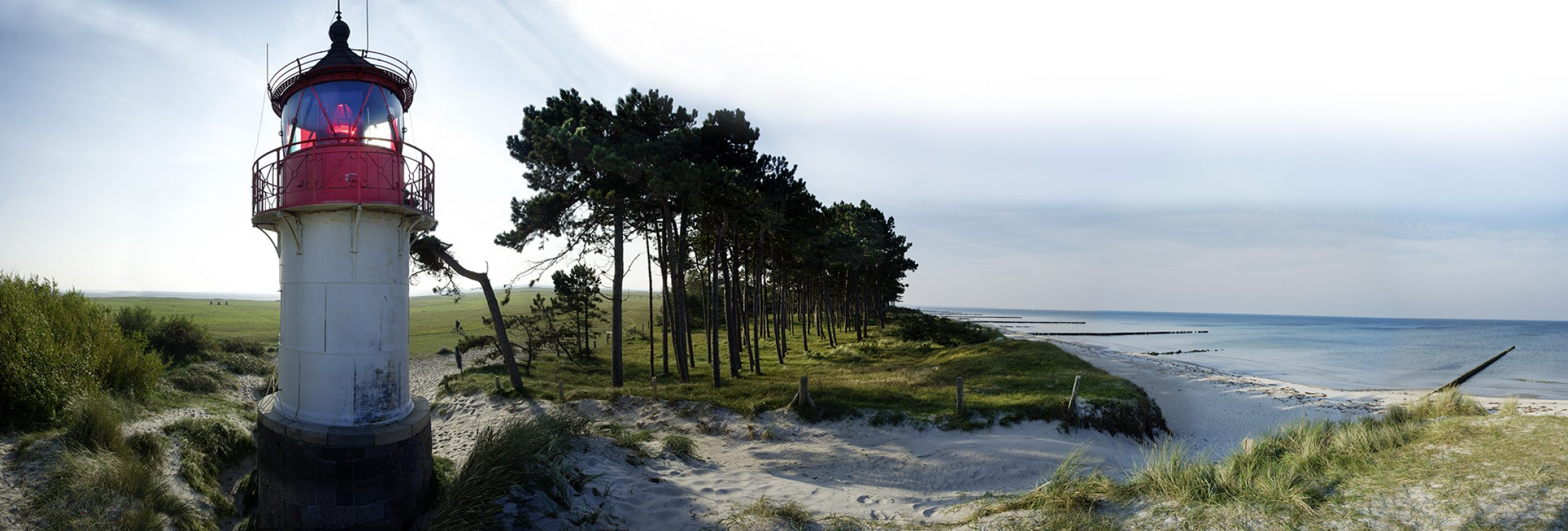Hiddensee, Leuchtfeuer, Insel, Strand, Kiefern