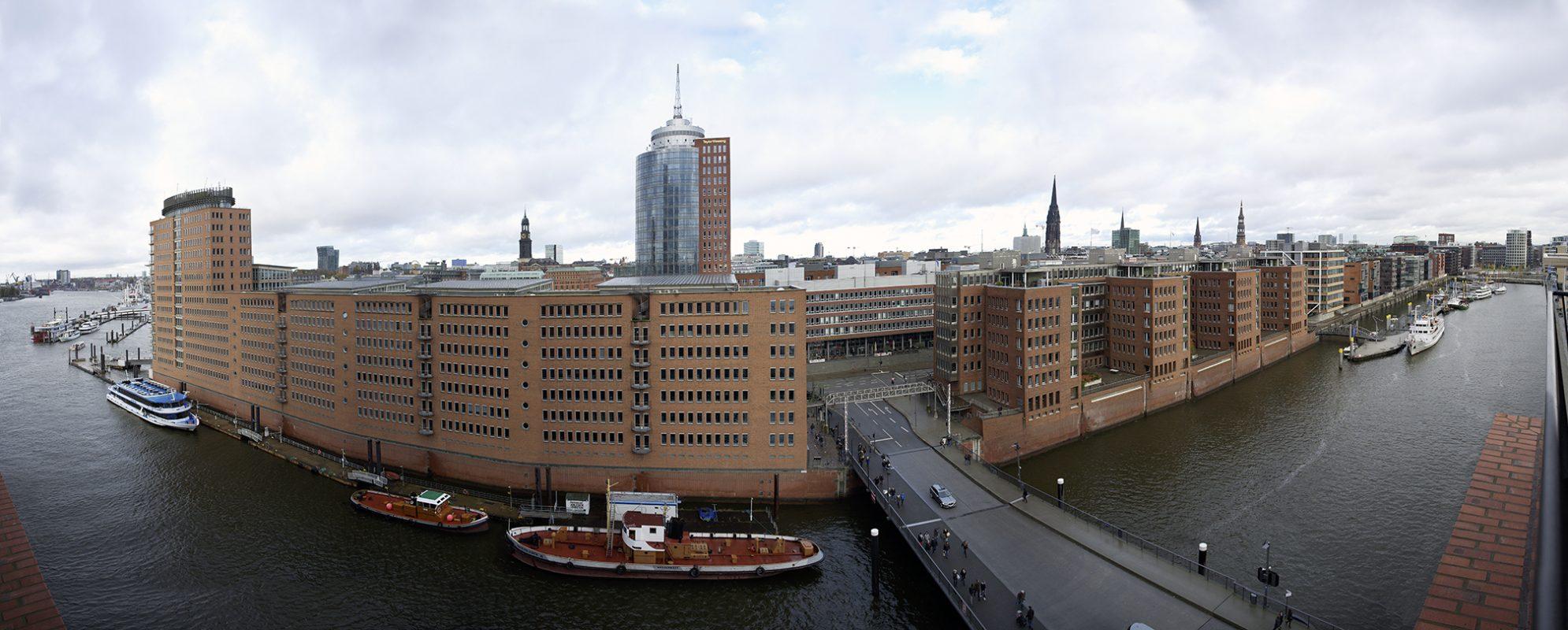 Hamburg, Speicherstadt von oben, Elbe, Panorama